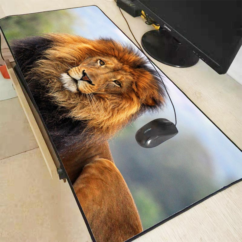 Mairuige 90X40CM Lion Animal Extra Large Mouse Pad Gaming Mousepad Anti-slip Natural Rubber Gaming Mouse Mat With Locking Edge