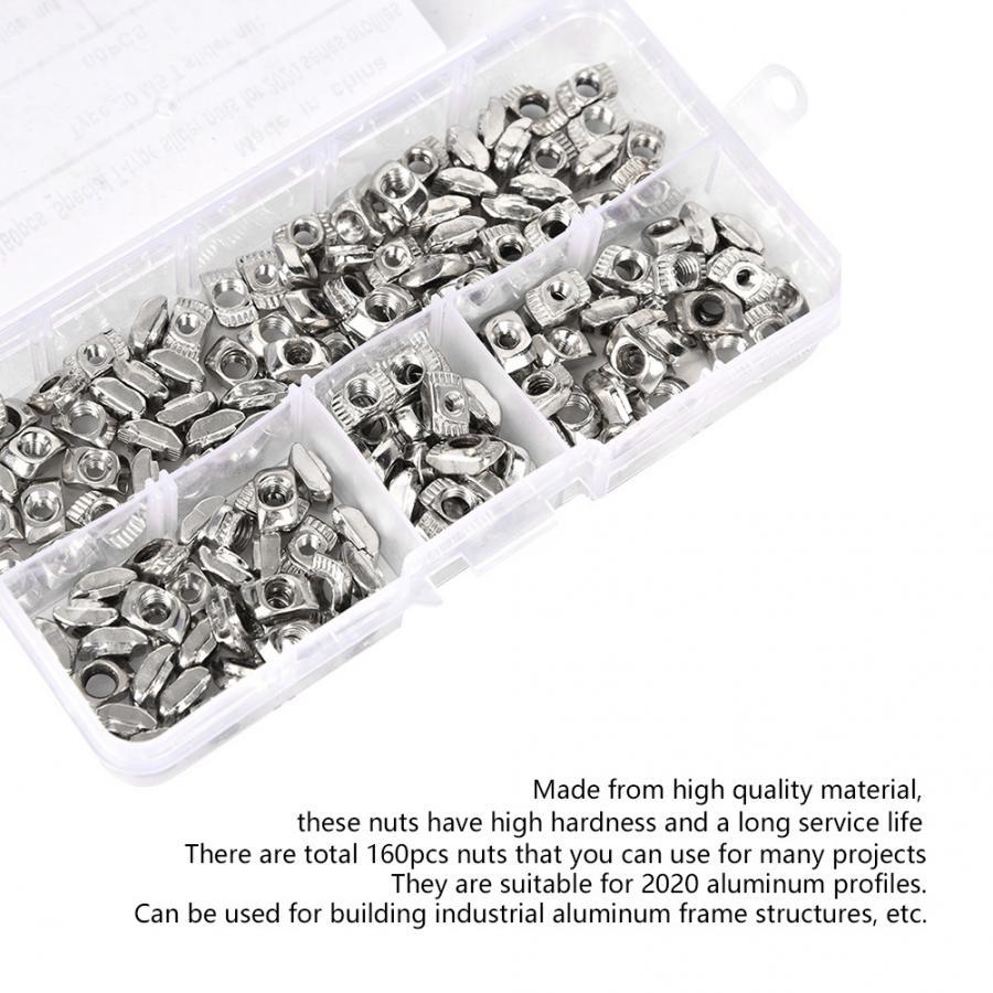 Yentll 160Pcs//Set T Slot Sliding Nut Fastener Hardware M3 M4 M5 for 2020 Aluminum Profiles Wood Screw and Nut Yentll
