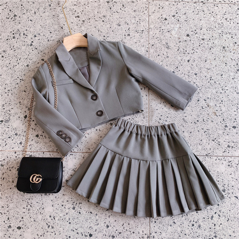 2021 Autumn New Arrival Girls Fashion 2 Pieces Suit Long Sleeve Coat+skirt  Girls Fall Outfits 1