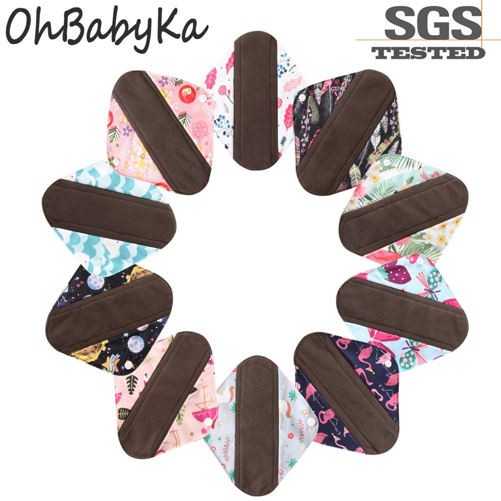 S M L Cloth Menstrual Pad Ohbabyka Bamboo Charcoal Mama Sanitary Reusable Washable Panty Liner Regular Overnight Dropshipping