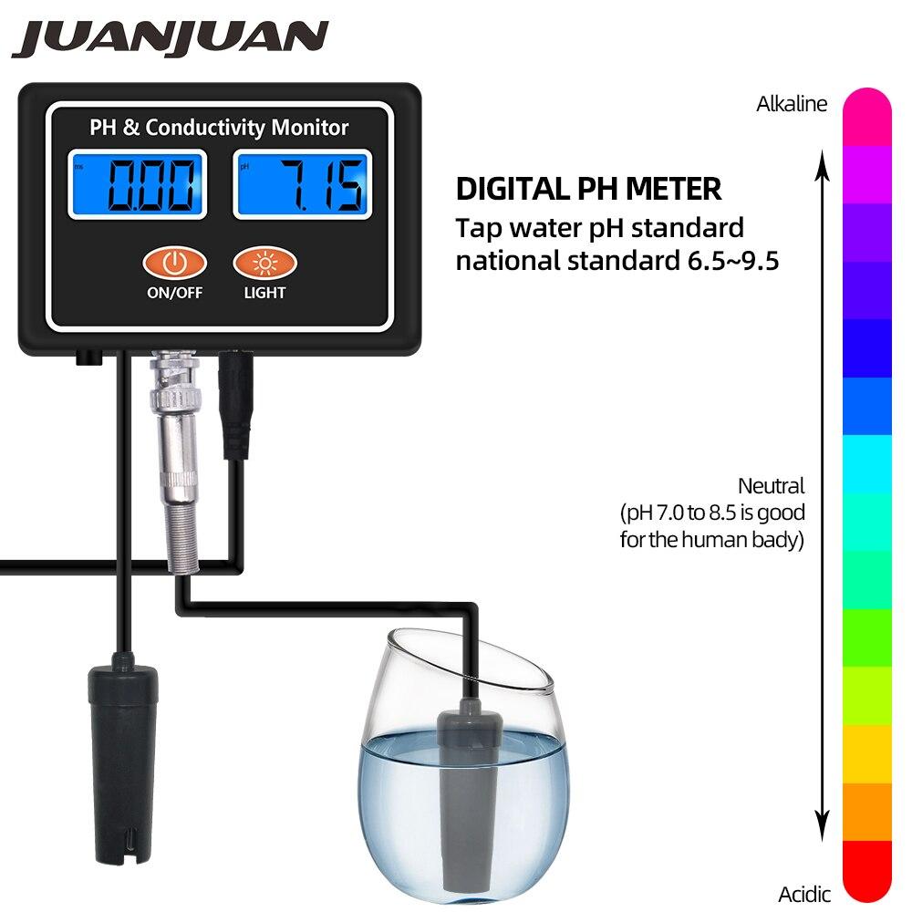 Numérique en ligne PH EC conductivité moniteur compteur testeur qualité de l'eau en temps réel surveillance continue pour Aquarium Aquarium