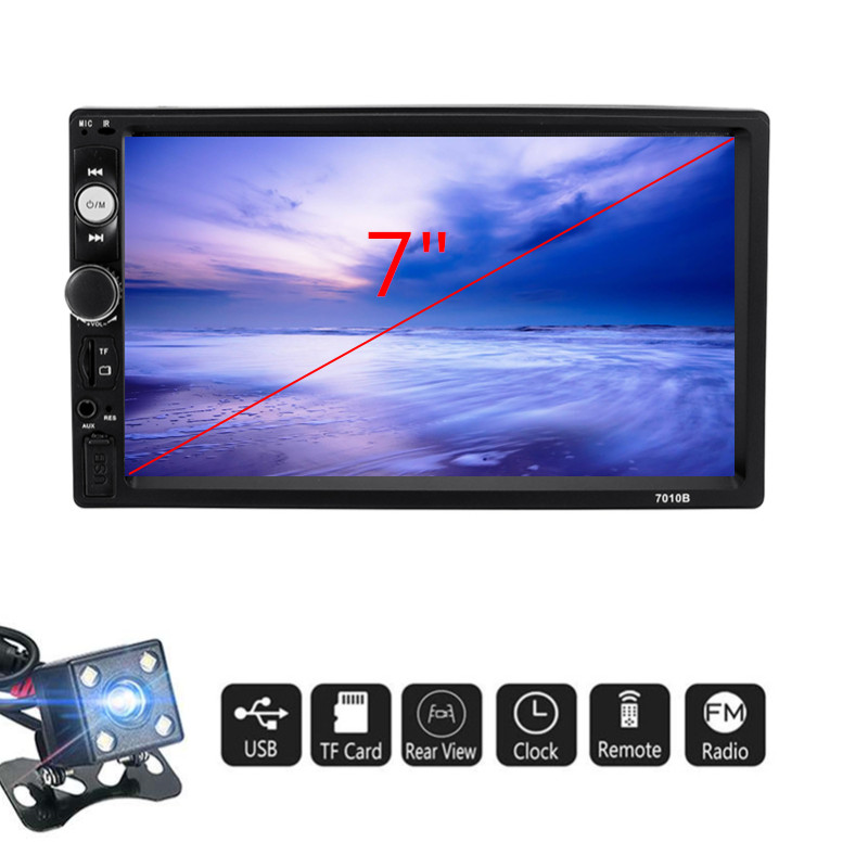 7 Inch <font><b>2</b></font> <font><b>Din</b></font> Car MP5 Player Touch Screen Full View Stereo FM Radio bluetooth with Rear View Camera <font><b>7010B</b></font> Multimedia Player image