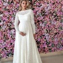 Lace White Pregnant Sleepwear Women Bathrobe Wedding Bridal Robe Customize Nightgown Maternity Pajamas