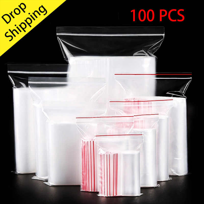 100pcs/lot Small Zip Lock Plastic Bags Reclosable Transparent Jewelry/Food Storage Bag Kitchen Package Bag Clear Ziplock Bag