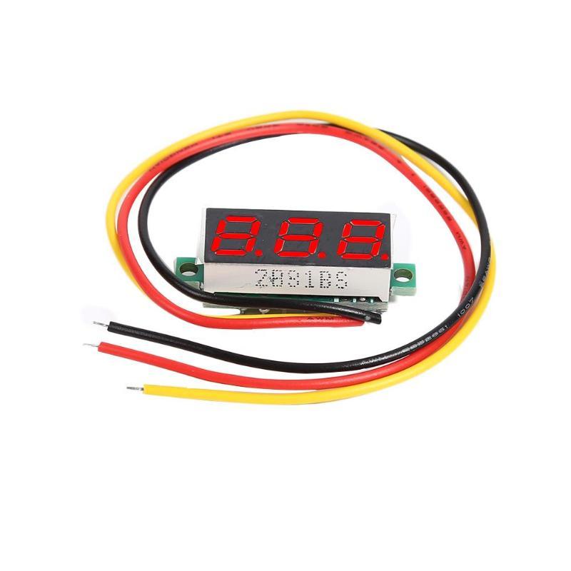 Mini 0.28 Inch DC 0-100V 3 Wires Mini Gauge Voltage Meter Voltmeter LED Display Car Battery Motor Voltage Monitor Measurement