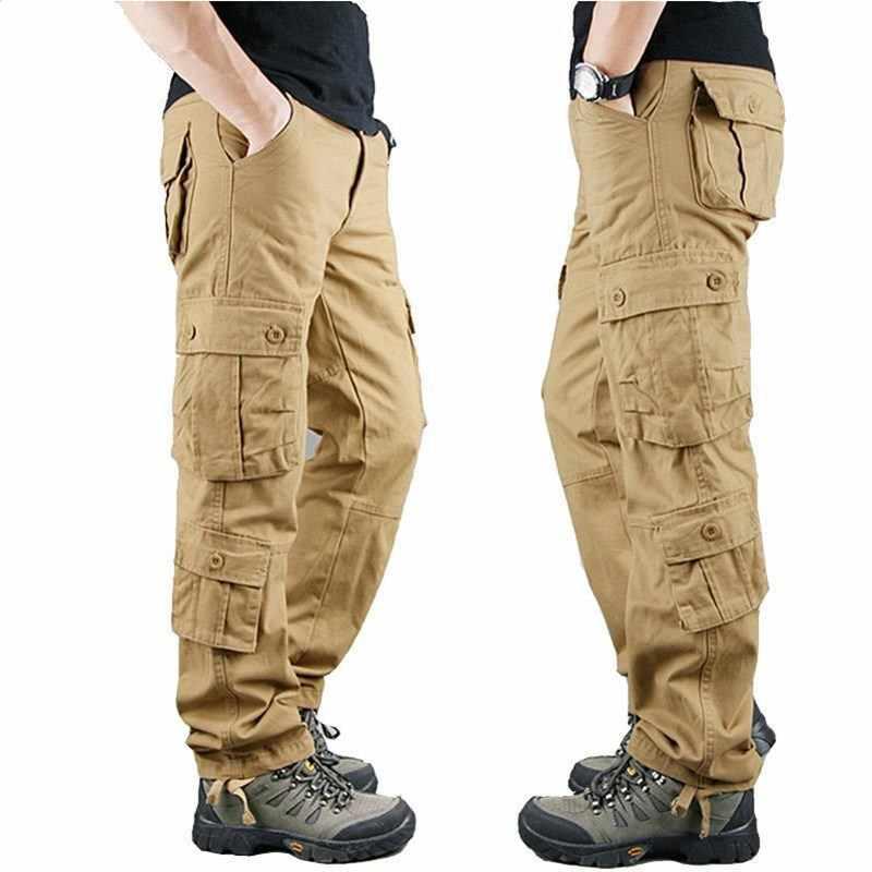 Pantalones Militares De Algodon Para Hombre Pantalon Tactico Informal Color Caqui Talla Grande Para Primavera E Invierno 2019 Pantalones Informales Aliexpress