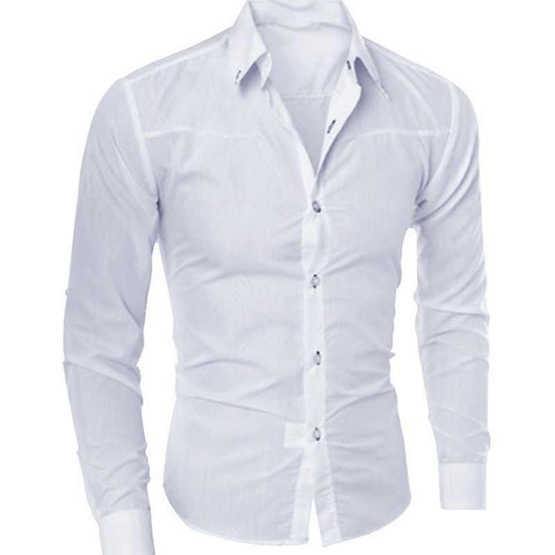 봄 가을 남성 슬림 피트 롱 슬리브 다크 솔리드 컬러 옷깃 탑 대형 셔츠 캐주얼 버튼 사이즈 S-5XL 셔츠