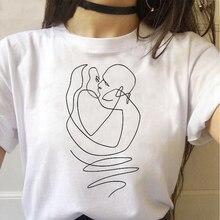 Черно белая футболка с абстрактным принтом лица Женский Топ