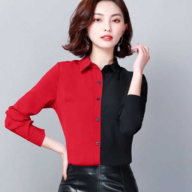 2019 Autumn Fashion Women Shirts Casual Spliced Women Clothing OL Plus Size Long Sleeve Leopard Women Blouses 6014 50 3