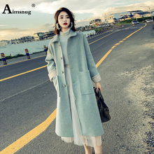 цена Aimsnug Autumn Winter Women Lapel Neck Long Sleeve High Street Woolen Coat Blends Trench Coat Solid Button Long Female Outwear