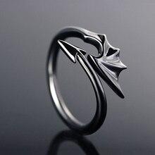 Punk Style Titanium Brass Koakuma Little Devil Dragon Gothic Evil Vampire Rings Open Ring Halloween Party Jewelry Gift