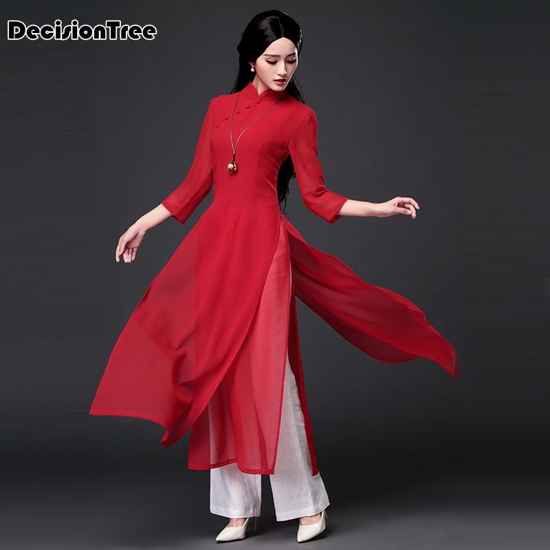 2019 Aodai Vietnam Clothing Vintage Clothing Ao Dai Vietnam Dress Vietnamese Traditionally Dress Modern Women Aodai