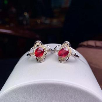 fashion red gem ring women silver ring jewelry natural real gem 6mm*8mm 925 sterling silver ring gift christmas birthday gift