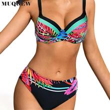 Nowy 2021 strój kąpielowy Bikini damski strój kąpielowy 2020 seksowne Bikini mikro strój kąpielowy Push Up stroje kąpielowe damskie oddzielne seksowne Bikini Biquini tanie tanio CN (pochodzenie) Drukuj Osób w wieku 18-35 lat Wysokiej talii Drut bezpłatne Bikinis Set WOMEN Pasuje prawda na wymiar weź swój normalny rozmiar