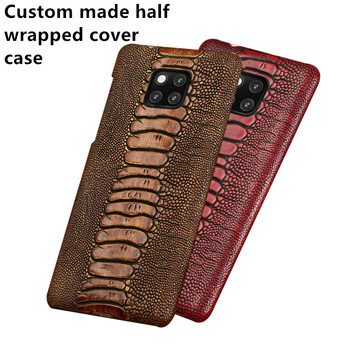Ostrich grain genuine leather half wrapped cover back case for Asus Zenfone 6Z ZS630KL/Zenfone 5Z ZE620KL phone cover hard case