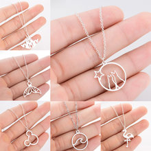 Stainless Steel Wave Flamingo Whale Tail Castle Star Moon Cat Bear Head Pendant Necklace Women Girls Charm Jewelry Xmas Gift Hot(China)