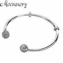 Moonmory Moments brazalete abierto de plata con casquillos para pavimentar pulsera de cuentas de Plata de Ley 925 con circonita transparente para mujer, joyería Diy