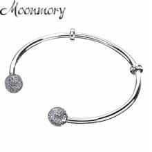Moonmory רגעים כסף להרחיב צמיד עם פייב כובעי S925 סטרלינג כסף חרוז צמיד עם ברור זירקון לאישה Diy תכשיטים