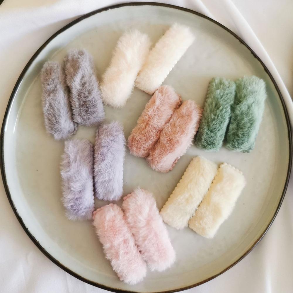 1Pair=2pcs New Korea Winter Plush Hairpins For Women Solid Color Faux Fur Hair Clips Girls Barrettes Kids Soft Hair Accessories