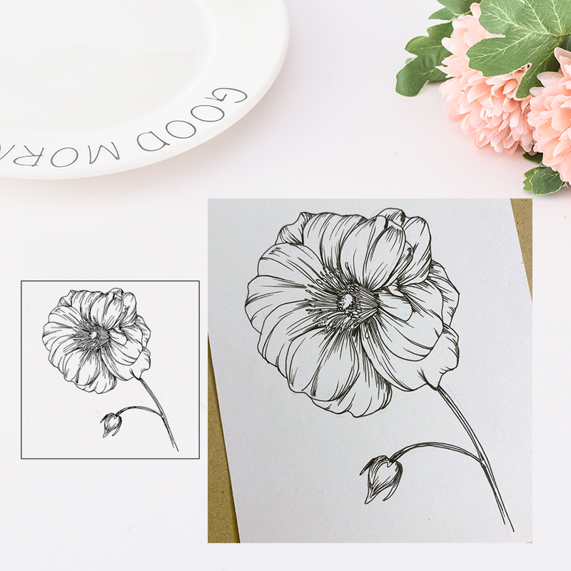 Clear Stamps Blooming Flower Rubber Transparent stamp Silicone Seal for DIY Scrapbooking Card Making Photo Album Decor Crafts in Stamps from Home Garden