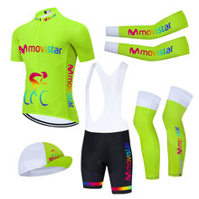 2021 TEAM MOVISTAR Cycling Jersey 20D Bike Shorts FULL Suit Ropa Ciclismo Fluo Green Bicycling Clothing Maillot Sleeves Warmers