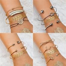LETAPI Trendy Punk Charm Bracelet Set for Woman Bohemian Adjustable Multilayer Gold Color Jewelry Gifts