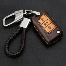 Leather Hand sewing America style Car Key Case Cover Fob Bag Suitable For Volkswage For Golf VII MK7 5G BE 3G5 Tiguan AD1 BW2