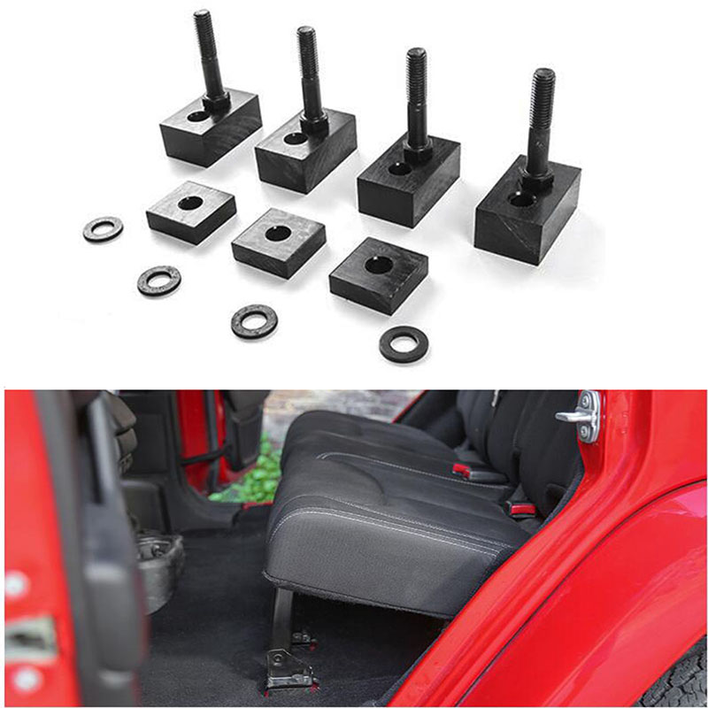1Set Seat Spacers + Bolts Rear Seat Recline Kit With Bolts And Washers Black Aluminum For Jeep Wrangler JK 2007-2018 4 Door