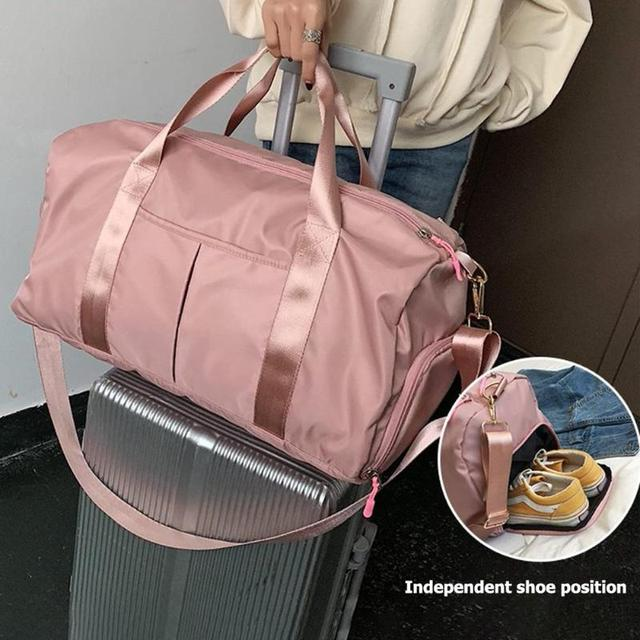 Nylon Women Men Travel Sports Gym Shoulder Bag Large Waterproof Nylon Handbags Black Pink Color Outdoor Sport Bags 2019 New 6