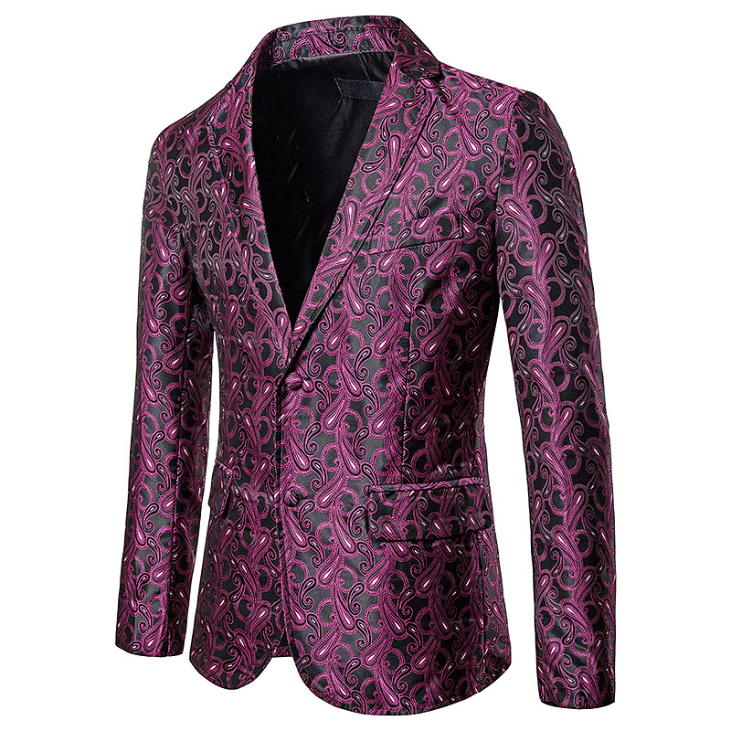 Man Blazers Suit Clothing Jakcet-Coat Business-Dress Printed Slim Single-Breasted Casual