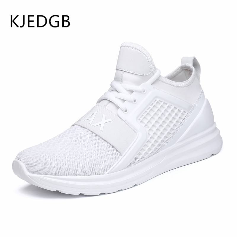Image 4 - KJEDGB 2019 Breathable Mesh Men Sneakers Solid Black White Green Red Light Mens Casual Shoes size 39 47 Support Dropshipping-in Men's Casual Shoes from Shoes
