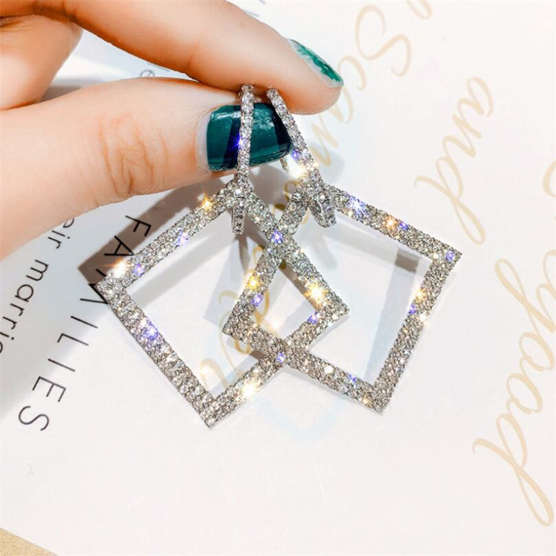 Shining Rhinestone Geometric Drop Earrings For Women Girls 2020 New Bijoux Gold Silver Square Dangle Earring Party Jewelry Gifts