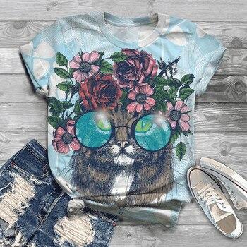 цена на 2020 T-Shirt Plus Size Women Short Sleeve 3D Animal Printed O-Neck Tops Tee Tee Shirt Blusas Mujer