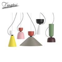 Modern Colorful Pendant Lights Lighting Denmark Art Macaron Aluminum LED Dinning Room Pendant Lamp Kitchen Fixtures Restaurant
