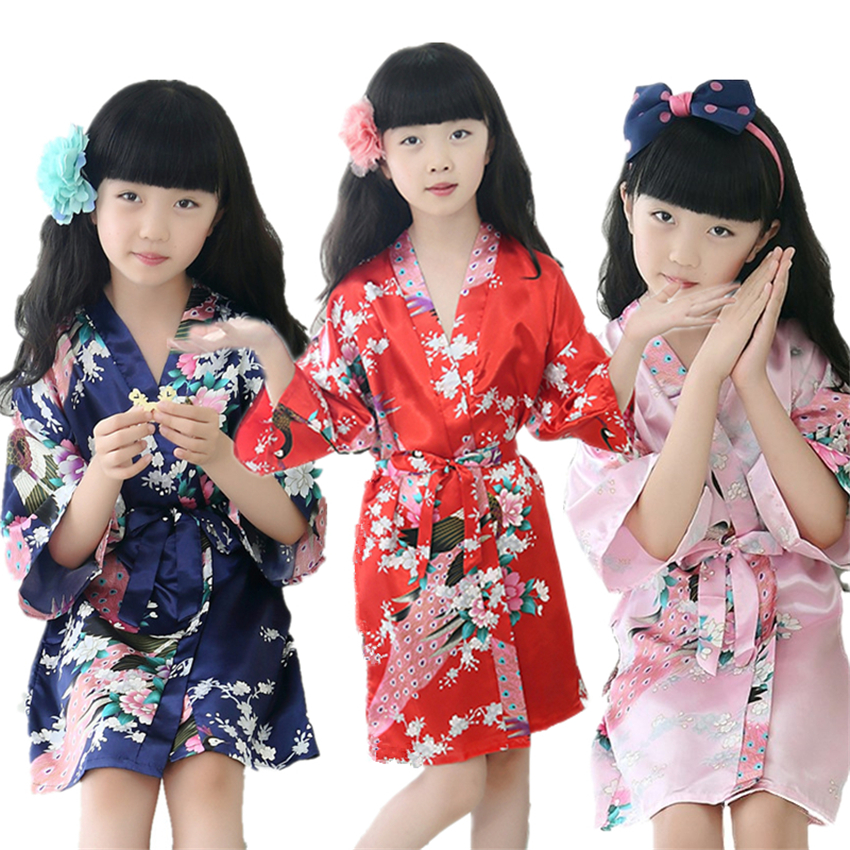 9Color Traditional Japanese Kimono Clothing For Girls Wedding Bridesmaid Peacock Yukata Pajamas Kids Silk Asian Sleepwear