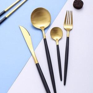 black gold dinnerware set knife fork spoon western tableware set portable appliance luxury 304 stainless steel kitchen tools