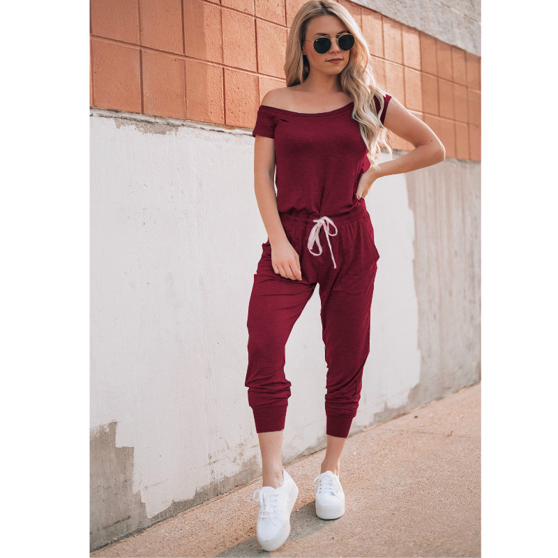 Women Long Romper Fashion Solid Black Gray Jumpsuit Sexy Off Shoulder Jumpsuit Overalls Rompers Womens Jumpsuits Body Mujer