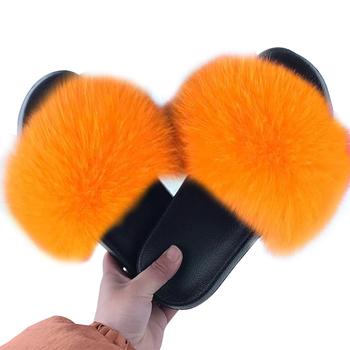 Nowe mody futro slajdy kobiety futrzane futra lisa sandały dla kobiety kobieta kryty buty outdoorowe puszyste pluszowe z kapcie futrzane w 2020 tanie i dobre opinie WENYUJH CN (pochodzenie) RUBBER Niska (1 cm-3 cm) Pasuje prawda na wymiar weź swój normalny rozmiar Podstawowe Faux Futra