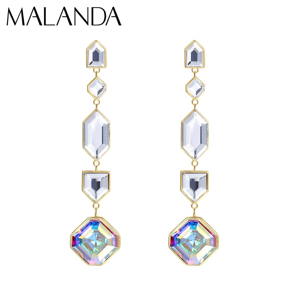 Malanda 2021 New Crystal From Swarovski Kaleidoscope Drop Earrings luxurious Silver Dangle Earrings Jewelry Mom Best Gift