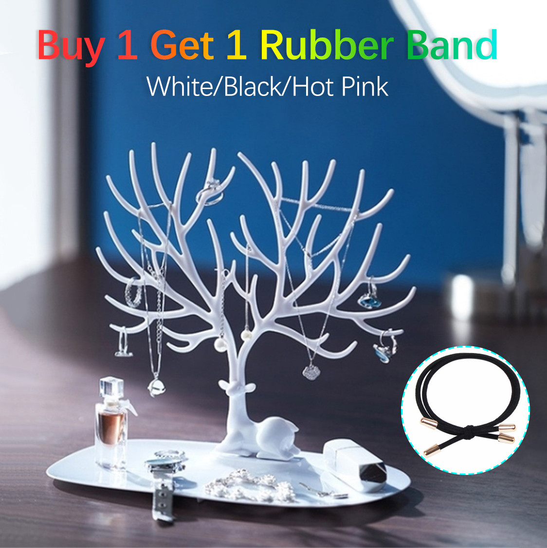 Jewelry Tree Stand Earrings Necklace Ring Display Holder Rack Silver