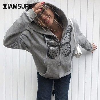 IAMSURE Butterfly Pattern Zipper Up Casual Loose 90s Hoodies Autumn y2k Fashion Long Sleeve Grey Oversize Sweatshirts For Women 1