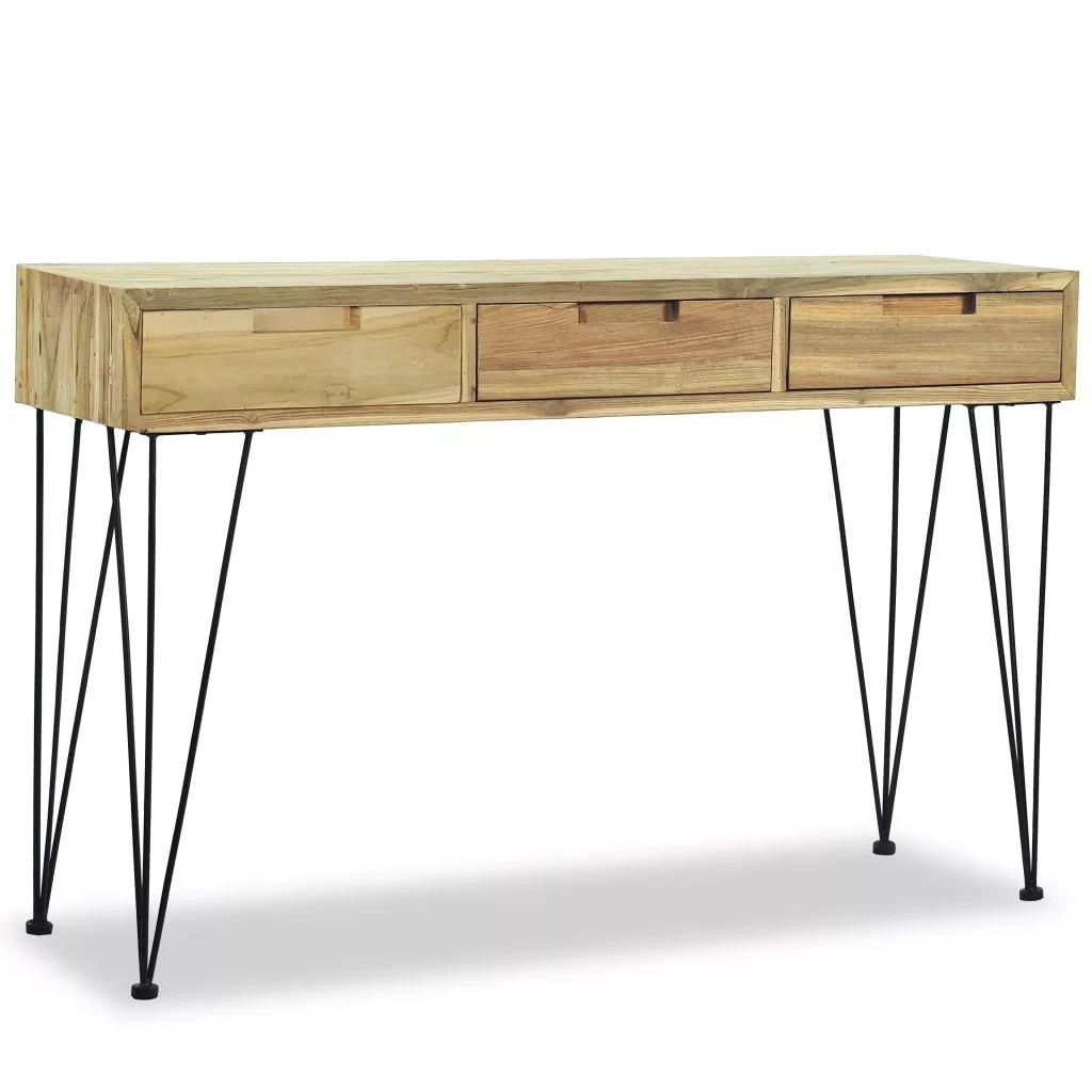 Консольный стол 120x35x76 см, Одноцветный Тиковый, в стиле колонии, простой дизайн, ручная работа, приставные столы, лампа для кофейного