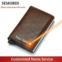 Card Wallet Credit-Card-Holder Aluminium-Box RFID SEMORID Women Business PU Note Carbon
