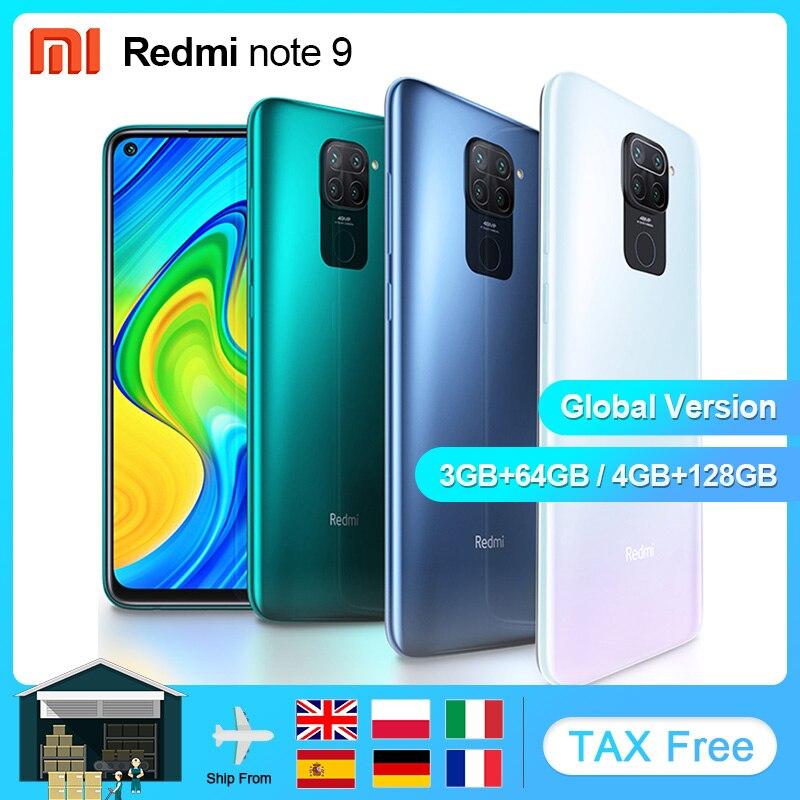 """Versão global xiaomi redmi nota 9 3gb 64gb/4gb 128gb smartphones telefones celulares android helio g85 octa core 6.53 """"exibir 5020mah"""