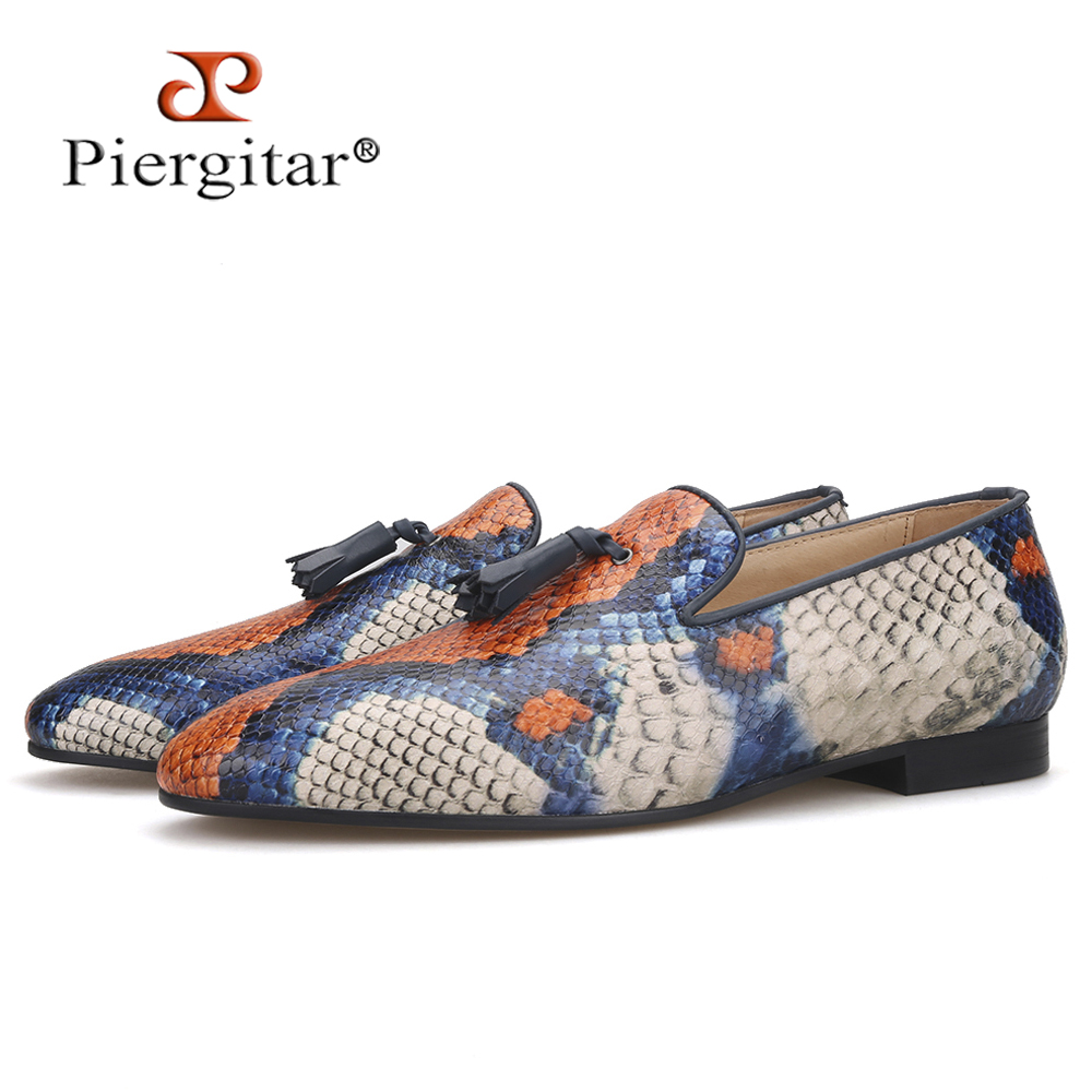 Piergitar Brand 2019 Cow Leather Of Snake Pattern Men Tassel Shoes Handmade Men's Loafers Party And Banquet Men Casual Shoes