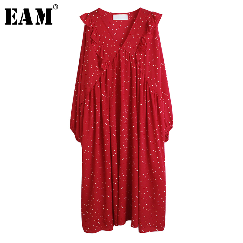 [EAM] Women Red Pattern Printed Temperament Big Size Dress New V-Neck Long Sleeve Loose Fit Fashion Spring Autumn 2020 1R527