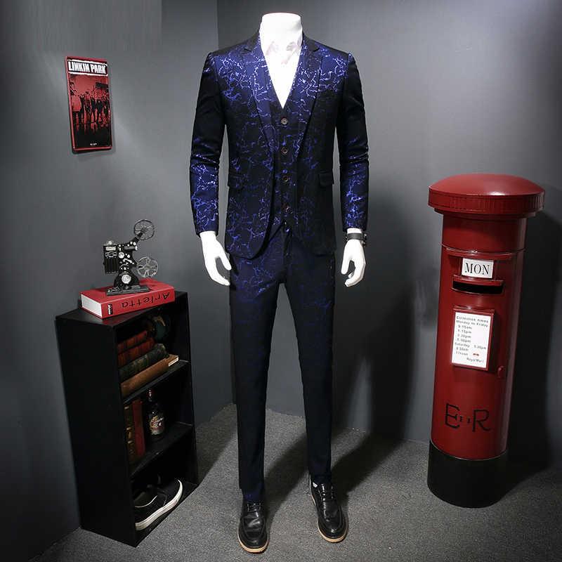 Terno jacquard tecido masculino smoking vestido de festa smoking traje hombre estampado ternos de casamento masculino borgonha 3 peças ternos