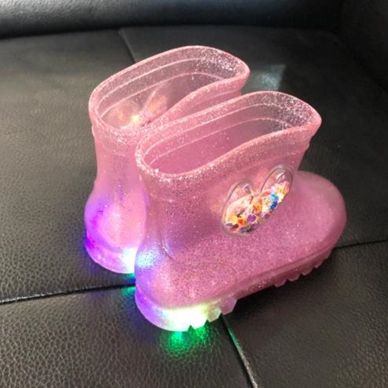 Girls Kids Rain Boots For Toddler Children Baby Waterproof Rubber Mud Shoes Light Up LED Sparkle Glitter Lightweight Pink Silver