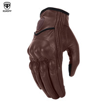 Retro Motorcycle Gloves Leather Summer Full Finger Waterproof Women Men Touch Screen Racing Glove