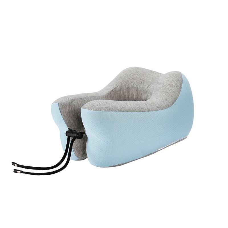 Подушка для путешествий Memory Foam Шейная подушка для шеи для самолета автомобильные офисные подушки u-образная Подушка подбородник для головы - Цвет: Синий